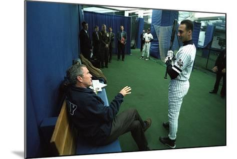 President George W. Bush Derek Jeter before the First Pitch in Game 3 of the World Series--Mounted Photo