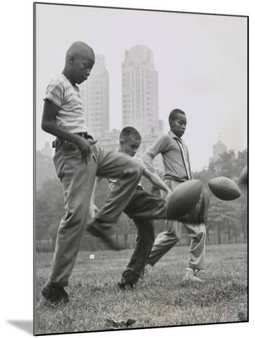 11 Year Olds in the 'Punt, Pass, and Kick' Competition at Heckscher Playground in Central Park--Mounted Photo