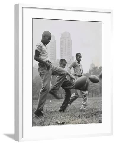 11 Year Olds in the 'Punt, Pass, and Kick' Competition at Heckscher Playground in Central Park--Framed Art Print