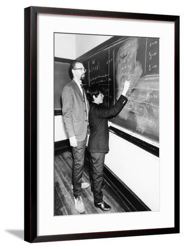 Professor Harry Dym, Works with His 12 Year Old Student, Matthew Marcus at New York City College--Framed Art Print