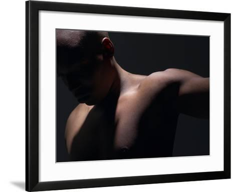 Male Nude in Shadows--Framed Art Print