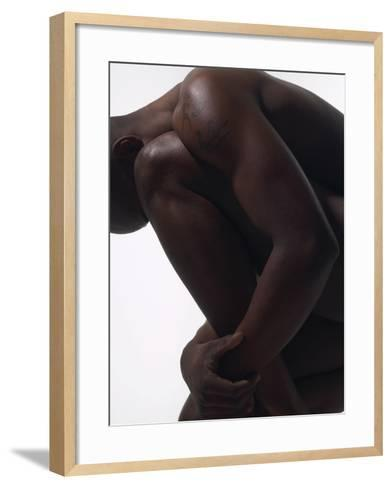 Male Nude Sitting--Framed Art Print