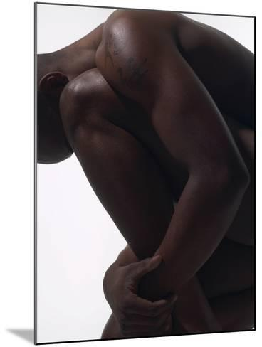 Male Nude Sitting--Mounted Photographic Print