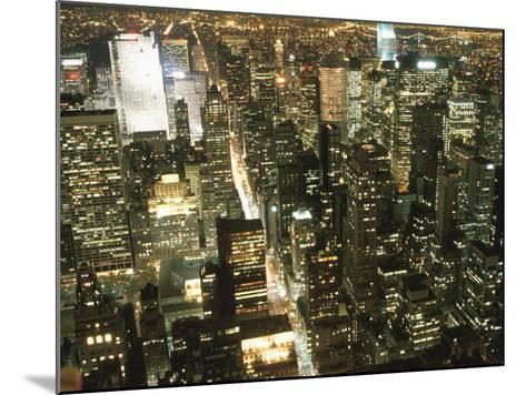 Downtown City Lights at Night--Mounted Photographic Print
