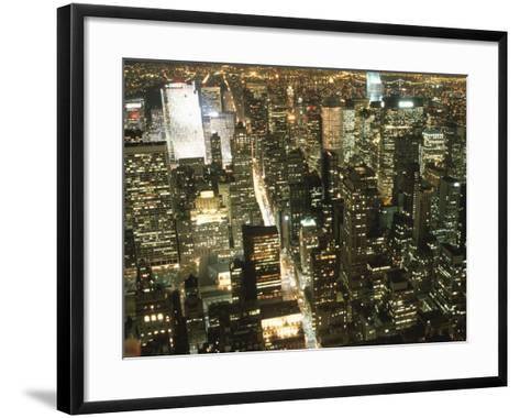 Downtown City Lights at Night--Framed Art Print