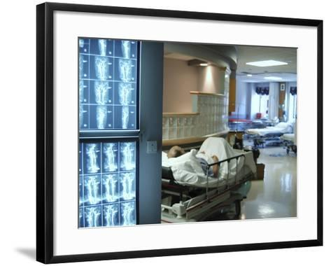 X-Ray Images on Computer Screen in Hospital--Framed Art Print