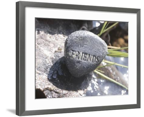 Rock with the Word Friends Beside Water--Framed Art Print