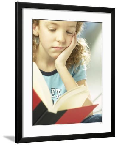 Little Girl Reading Book--Framed Art Print