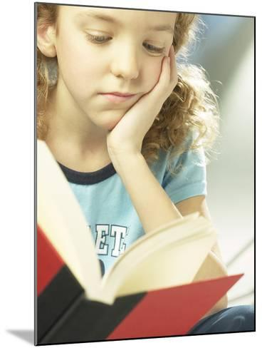 Little Girl Reading Book--Mounted Photographic Print