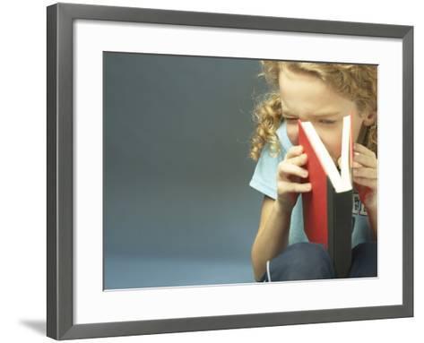 Little Girl Peaking Into Book--Framed Art Print