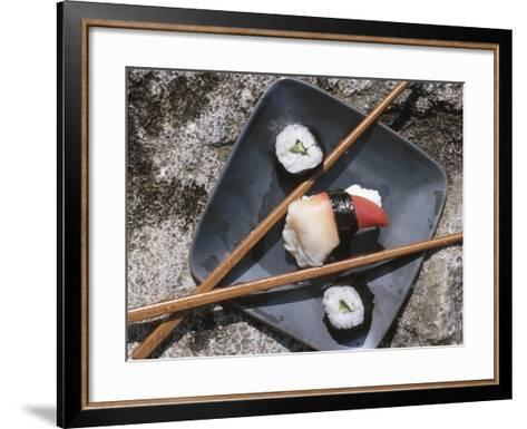 Sushi and Chopsticks Beside Rushing Water--Framed Art Print