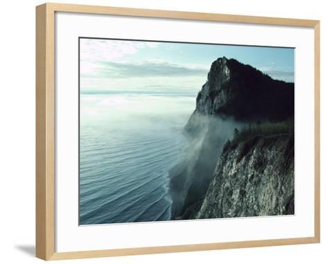 Morning Mist on Picturesque Cliffs off Coast--Framed Art Print