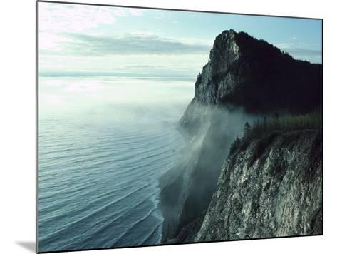 Morning Mist on Picturesque Cliffs off Coast--Mounted Photographic Print