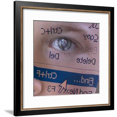 Person's Face with Superimposition of Backwards Computer Toolbar--Framed Art Print