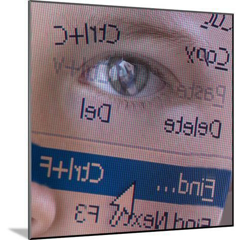 Person's Face with Superimposition of Backwards Computer Toolbar--Mounted Photographic Print