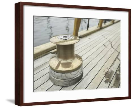 Brass Boat Moor on Wooden Pier--Framed Art Print