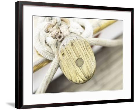 Wooden Pulley and Rope on Edge of Boat--Framed Art Print