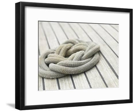 Knot of Rope on Wooden Boat Deck--Framed Art Print