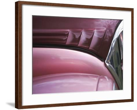 Close-up of Vent on Pink Classic Car--Framed Art Print