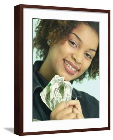 Woman Holding Money--Framed Art Print