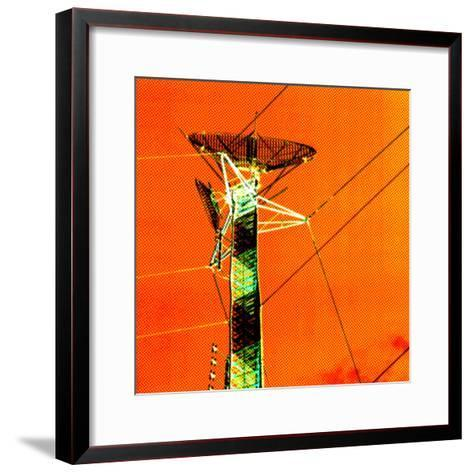 Technological Electric Tower with Power Lines--Framed Art Print