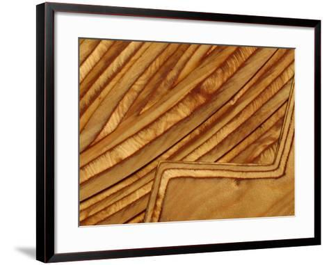Close-up of Smooth Detail Lines Carved into a Piece of Wood--Framed Art Print