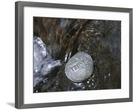 Rock with the Word Trust in Water--Framed Art Print