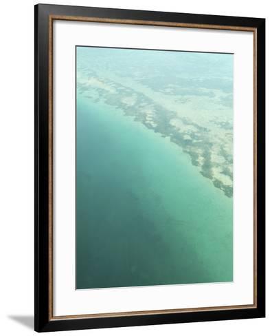 Aerial View of Green Seashore and Island--Framed Art Print