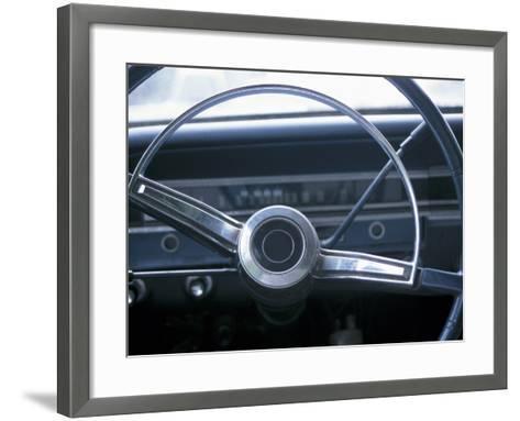 Vintage Steering Wheel in Antique Car--Framed Art Print