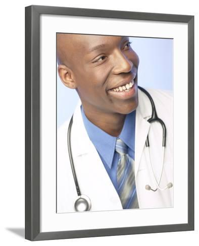 Smiling Doctor with Stethoscope Around His Neck--Framed Art Print