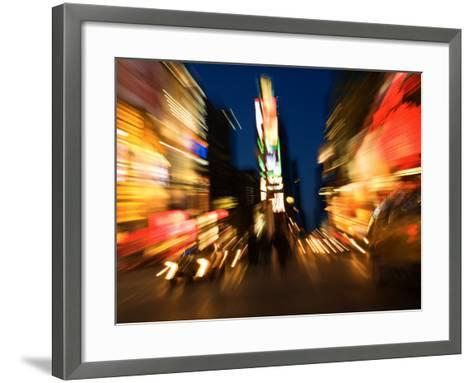 Blurred Light Effect of Times Square in New York City--Framed Art Print