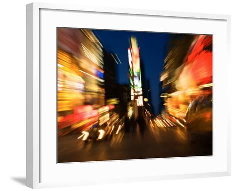 Blurred Light Effect of Times Square in New York City--Framed Art Print
