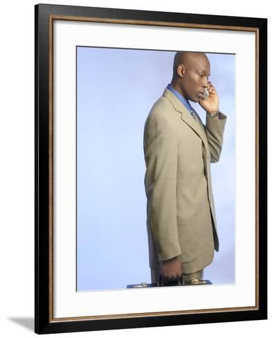 Businessman Talking on Cell Phone--Framed Art Print