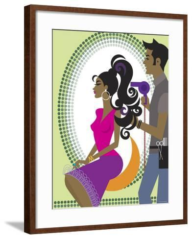 Stylist Blow Drying Hair for Beautiful Woman--Framed Art Print