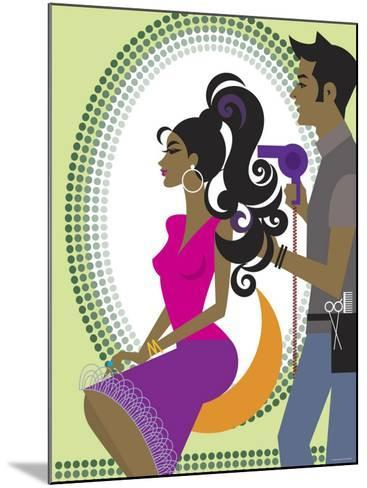 Stylist Blow Drying Hair for Beautiful Woman--Mounted Photographic Print