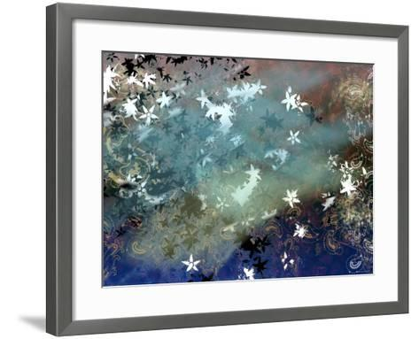 Abstract Snowflakes and Paisleys Floating Through Tranquil Space--Framed Art Print