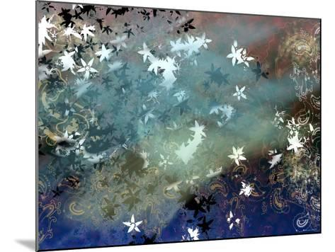 Abstract Snowflakes and Paisleys Floating Through Tranquil Space--Mounted Photographic Print