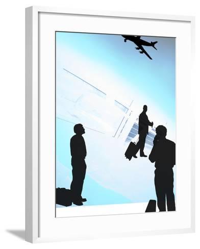 Human Shadow Figures at an Airport--Framed Art Print
