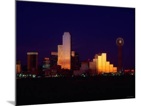 Skyline View of Buildings and High-Rises at Sunset in Dallas, Texas--Mounted Photographic Print