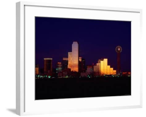 Skyline View of Buildings and High-Rises at Sunset in Dallas, Texas--Framed Art Print