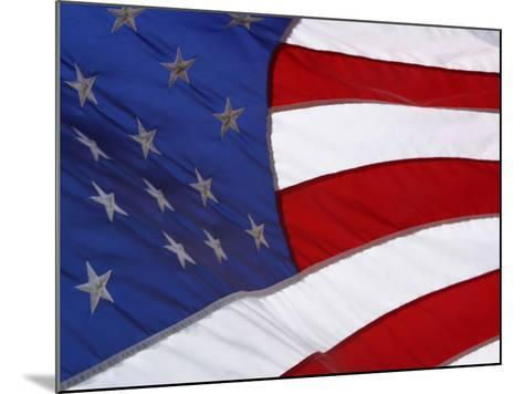 Close-up of an American Flag Waving in the Wind--Mounted Photographic Print