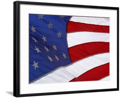 Close-up of an American Flag Waving in the Wind--Framed Art Print