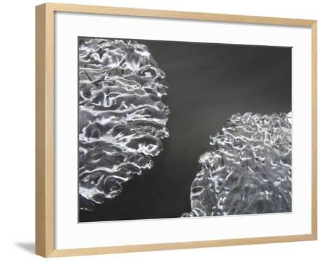 Close-up of Cold Flowing Water with Thin Sheets of Ice--Framed Art Print