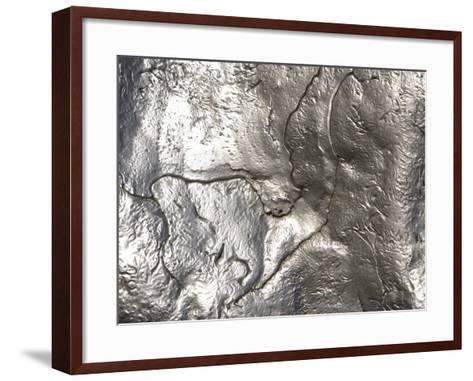 Close-up of Rough Texture on Shiny Metallic Surfaces--Framed Art Print