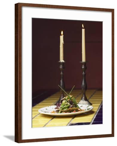 Romantic Gourmet Meal Beside Candles--Framed Art Print