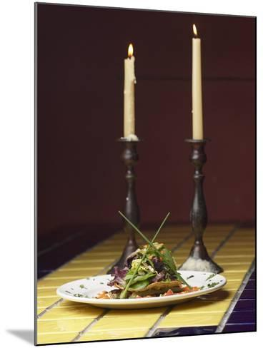 Romantic Gourmet Meal Beside Candles--Mounted Photographic Print