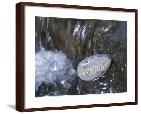 Rock with the Word Imagine in Rushing Water--Framed Art Print