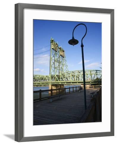 Boardwalk Along River with Industrial Bridge in the Background in Portland, Oregon--Framed Art Print