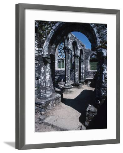 Gray Stone Arch of Historical Cathedral Ruins in France--Framed Art Print