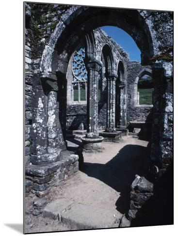 Gray Stone Arch of Historical Cathedral Ruins in France--Mounted Photographic Print